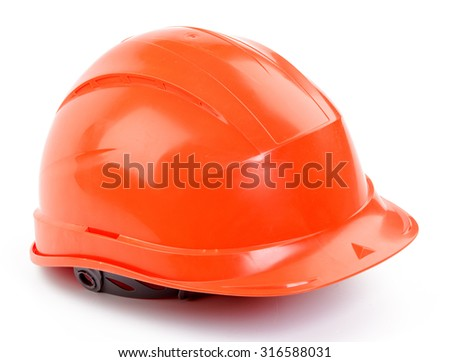 Orange plastic construction Helmet on a white background - stock photo