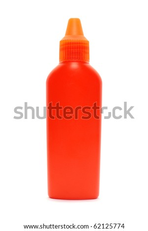 Orange plastic lotion container isolated on white bacground