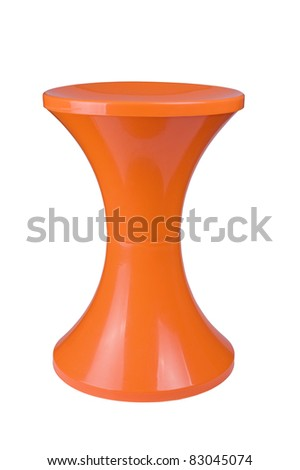 Orange  plastic stool isolated on white background - stock photo