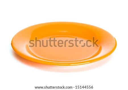 orange plate on white background - stock photo