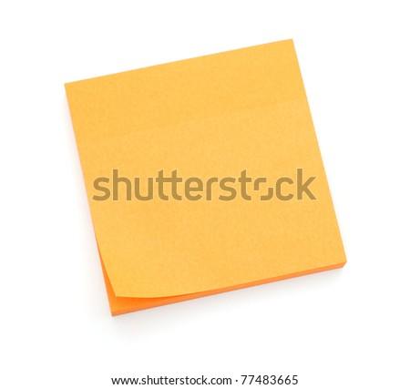 Orange post-it notes - stock photo