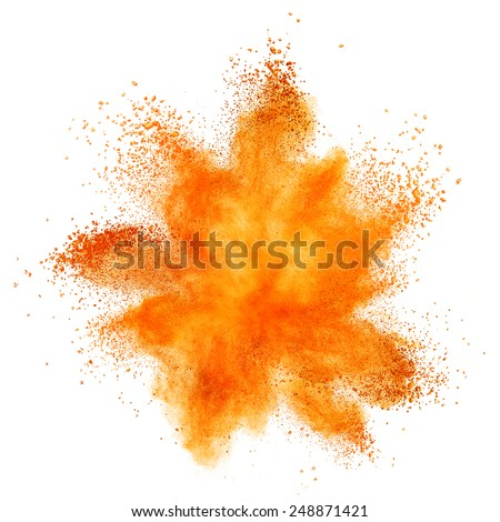 orange powder explosion isolated on white background - stock photo