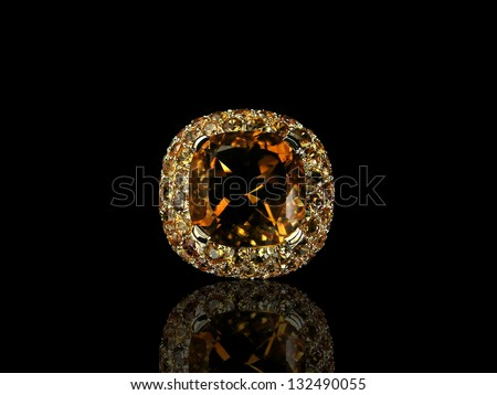 Orange precious stone - stock photo