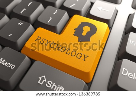 Orange Psichology Button on Computer Keyboard. Psychology Concept.