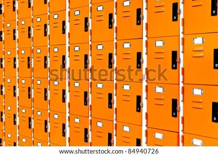 Orange public lockers - stock photo