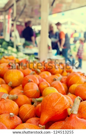 Orange pumkins at the market