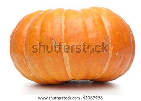 Orange pumpkin isolated on white background. - stock photo