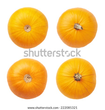 Orange pumpkin isolated over the white background, set of four top and bottom foreshortenings - stock photo