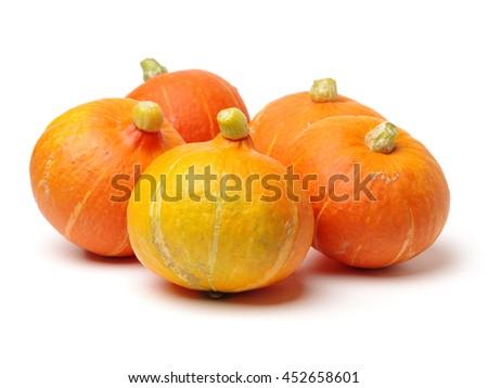 Orange pumpkin on white background  - stock photo