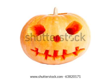 Orange pumpkin on white background isolated - stock photo