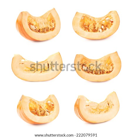 Orange pumpkin slice piece isolated over the white background, set of multiple foreshortenings - stock photo