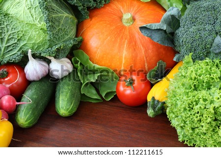 Orange pumpkin with other veggies, wallpaper, background - stock photo