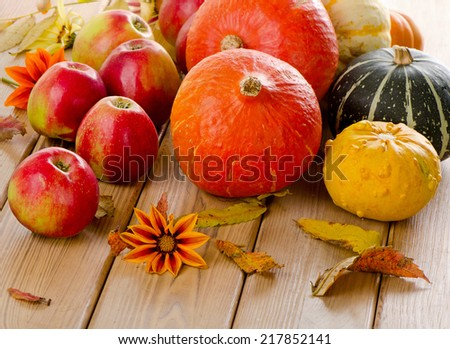 Orange Pumpkins with red apples and  fall leaves. Selective focus - stock photo