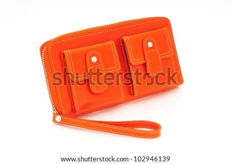 Orange purse on a white background - stock photo