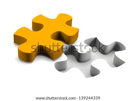 Orange puzzle piece and his missing on white background solution concept - stock photo