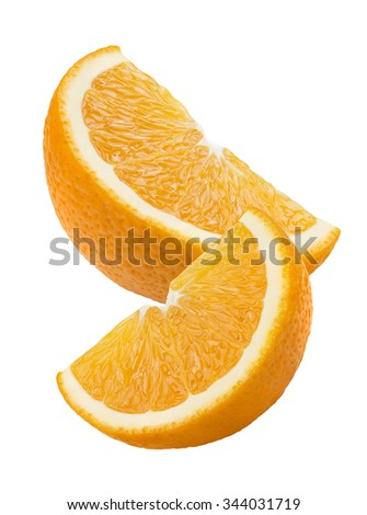 Orange quarter pieces vertical isolated on white background as package design element - stock photo