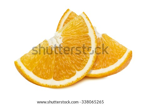 Orange quarter slices 2 isolated on white background as package design element