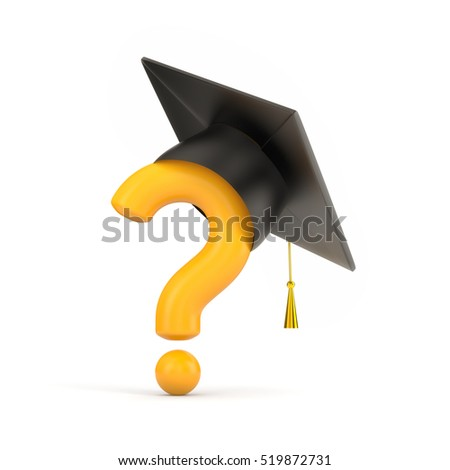 Orange question and graduation cap. 3d illustration