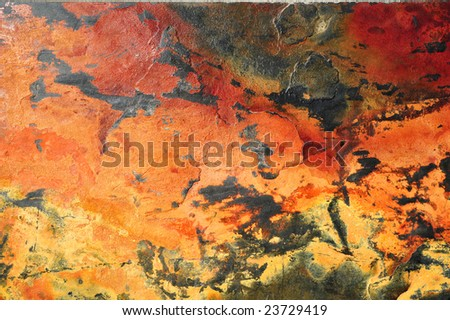 Orange, red and black slate background or texture