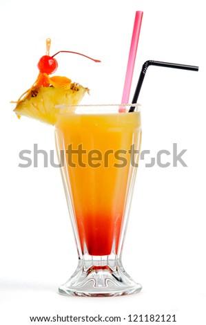 Orange red cocktail - stock photo