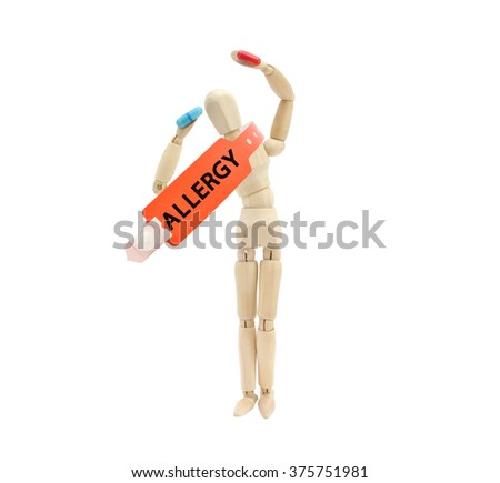 Orange Red Mannequin holding red and blue prescription pill Allergy Bracelet hung around neck isolated on white background - stock photo