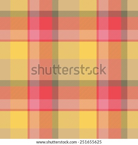 Orange, red seamless tartan cloth pattern textures - stock photo