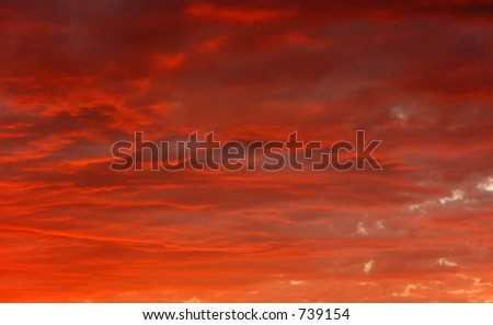 orange red sunset clouds - stock photo