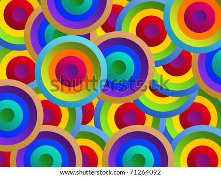 Orange,red,yellow,blue and purple circles. Background