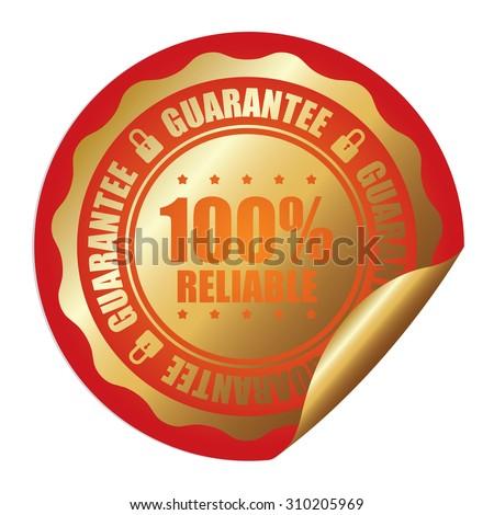 Orange 100% Reliable Guarantee Infographics Peeling Sticker, Label, Icon, Sign or Badge Isolated on White Background  - stock photo