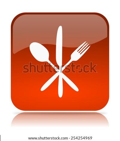 Orange Restaurant App Icon Illustration on White Background - stock photo
