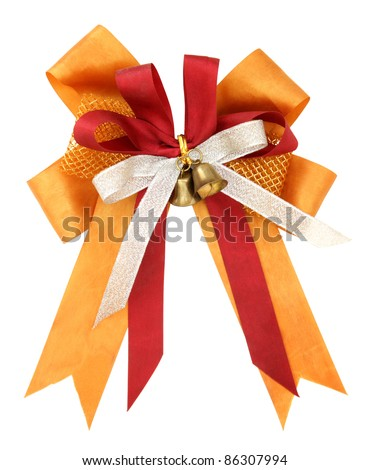 Orange ribbon and bow Isolated on white background with clipping path - stock photo
