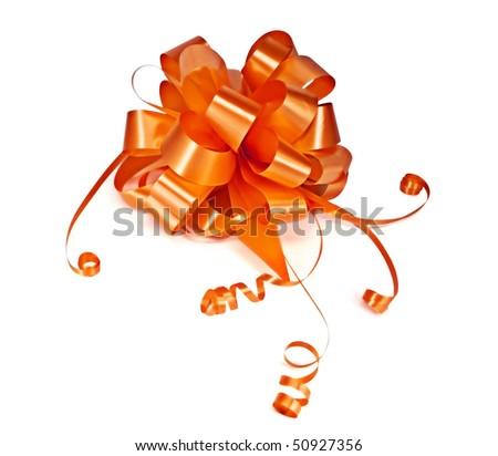 Orange ribbon bow - stock photo