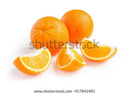 Orange. Ripe fresh oranges isolated on white background - stock photo
