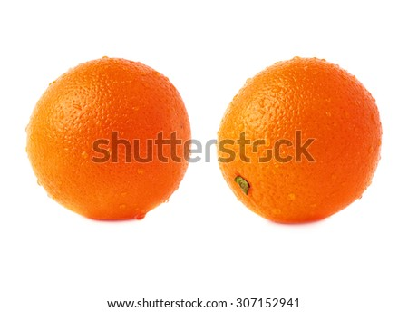 Orange ripe fruit covered with the multiple water drops, isolated over the white background, set of different foreshortenings - stock photo