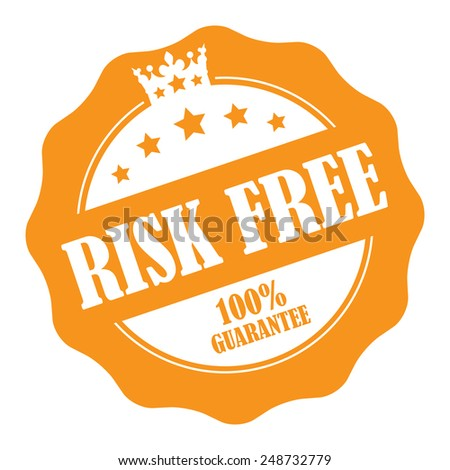 Orange Risk Free 100% Guarantee Stamp, Badge, Icon, Label or Sticker Isolated on White Background  - stock photo