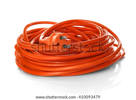 Orange rolled extension isolated on white - stock photo