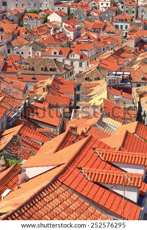 Orange roof tops above the old town of Dubrovnik, Croatia - stock photo