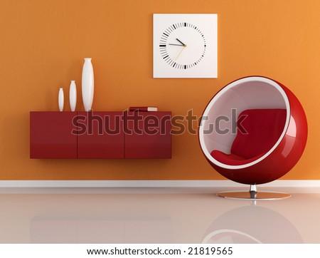 orange room with fashion armchair - stock photo