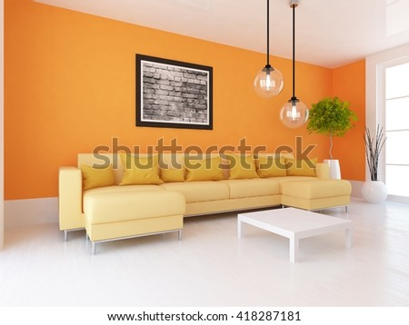 Orange room with sofa. Living room interior. Scandinavian interior. 3d illustration