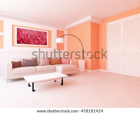 Orange Room Sofa Living Room Interior Stock Illustration 458181424 ...