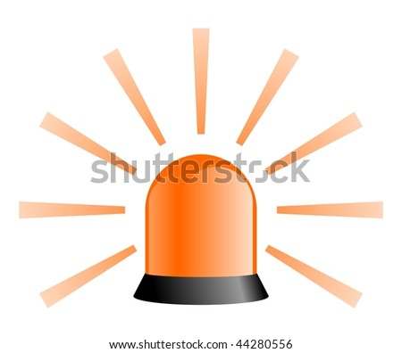 Orange rotating beacon with rays over white background - stock photo