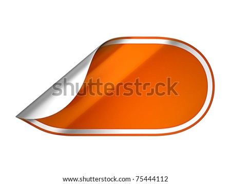 Orange rounded hamous sticker or label over white background