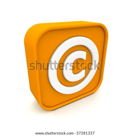 orange RSS like copyright symbol rendered in 3D isolated on white ground - angular view - stock photo