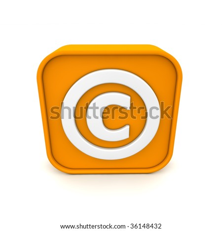 orange RSS like copyright symbol rendered in 3D isolated on white ground - front view - stock photo