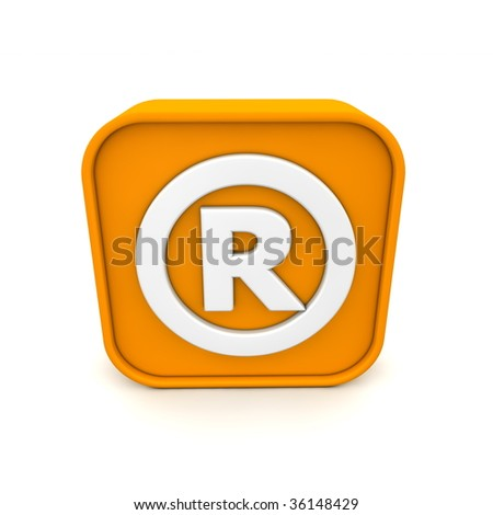 orange RSS like registered trademark symbol rendered in 3D isolated on white ground - front view - stock photo