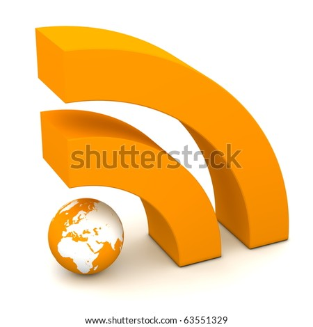 orange RSS symbol rendered in 3D on white ground - stock photo