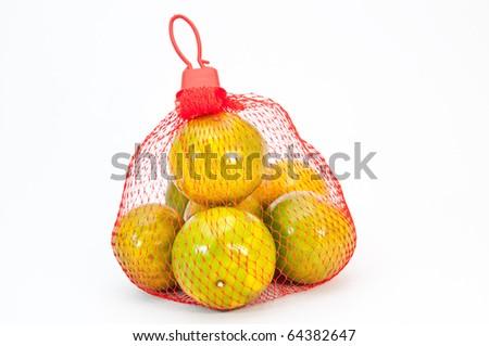 Orange sack. Isolated - stock photo