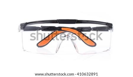 Orange safety glasses isolated on the white background - stock photo
