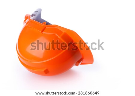 orange safety helmet hard hat, tool protect worker of danger in construction industry, isolated on white background