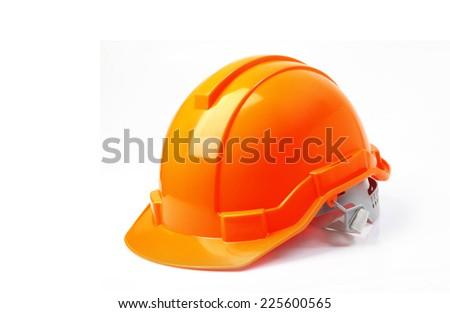 Orange safety helmet on white background. hard hat isolated on white. - stock photo